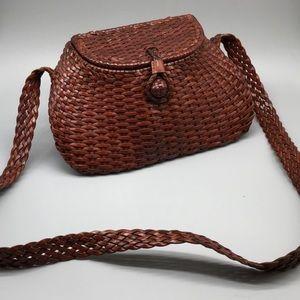 Cole Haan leather basket weave vintage handbag